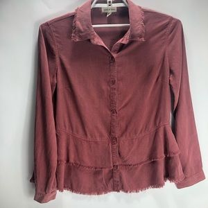 Cloth & stone peplum fringe button down shirt
